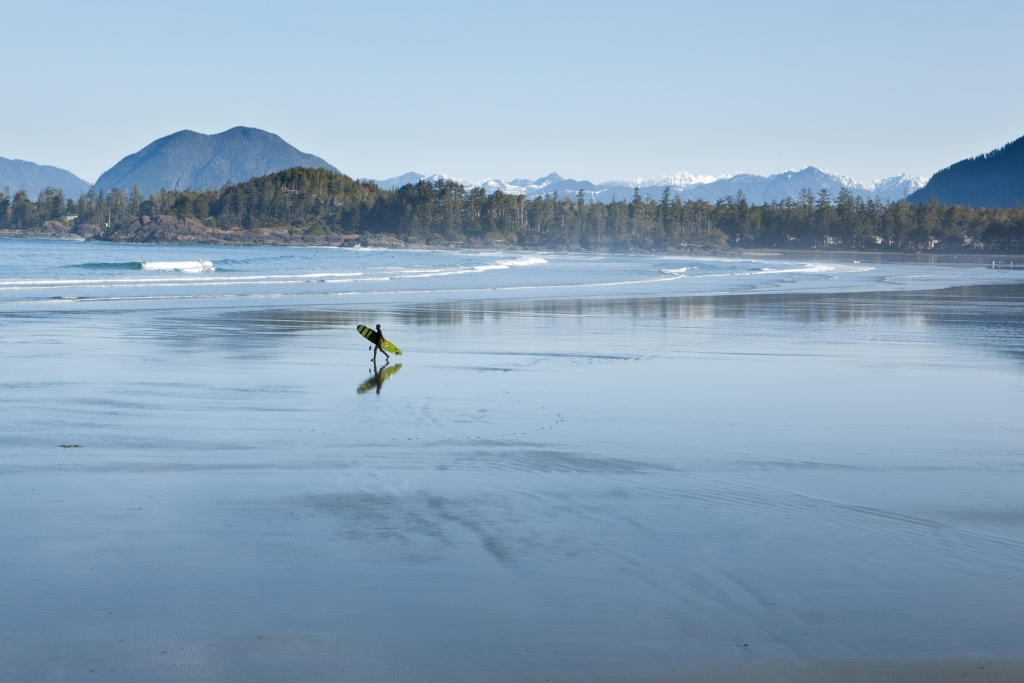 Surfing at Tofino's Cox Bay Beach.