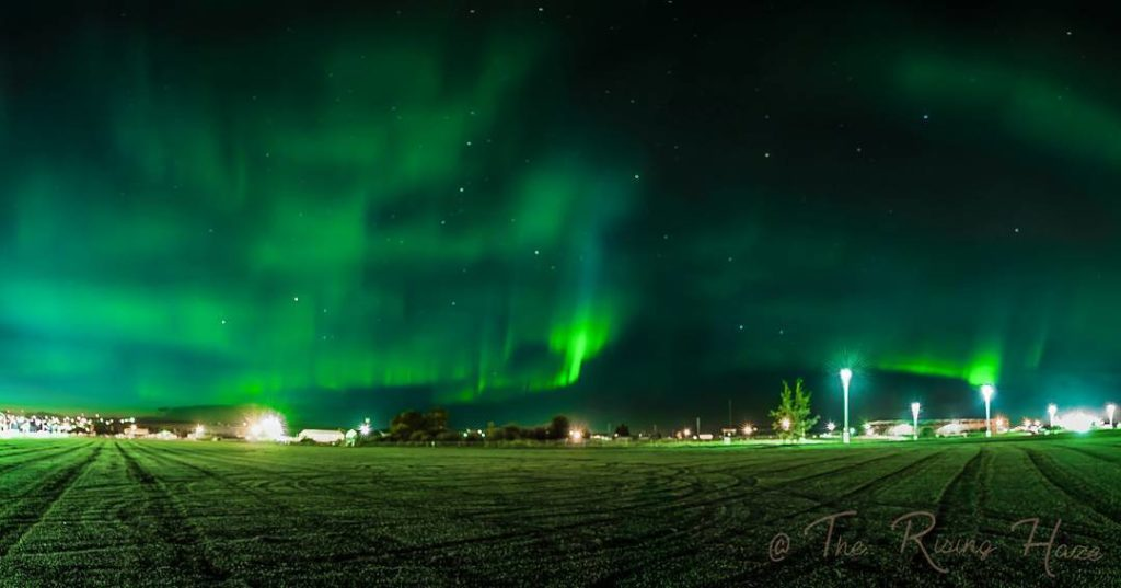 A stunning green display of the Northern Lights over Dawson Creek, BC.
