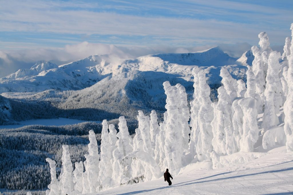 The view of snow ghosts and mountain peaks on Vancouver Island's Mount Washington.
