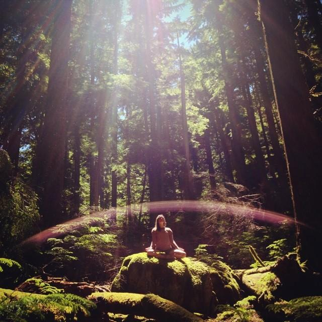 A woman meditates on a moss-covered rock, surrounded by a dense forest.