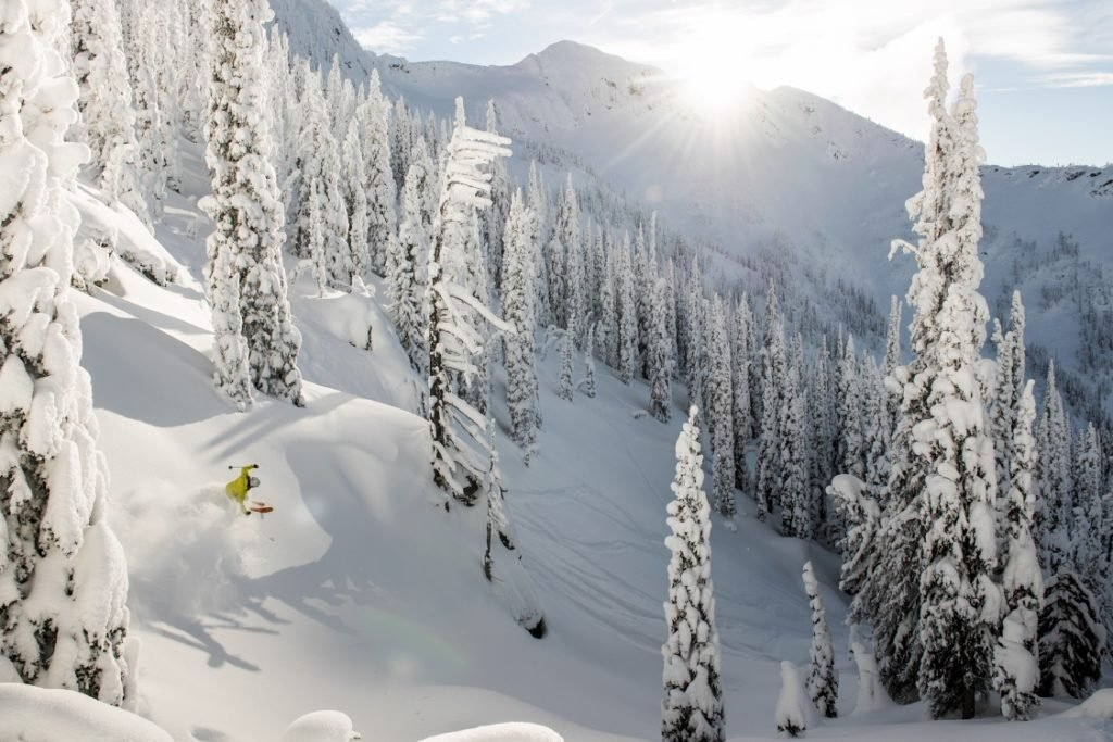 A skier cuts through fresh powder on a sunny day.