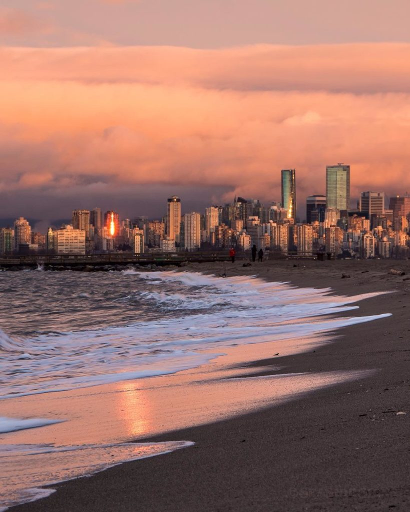 Sunset at the sandy shores of Locarno Beach in Vancouver. Photo: @seaside_signs via Instagram