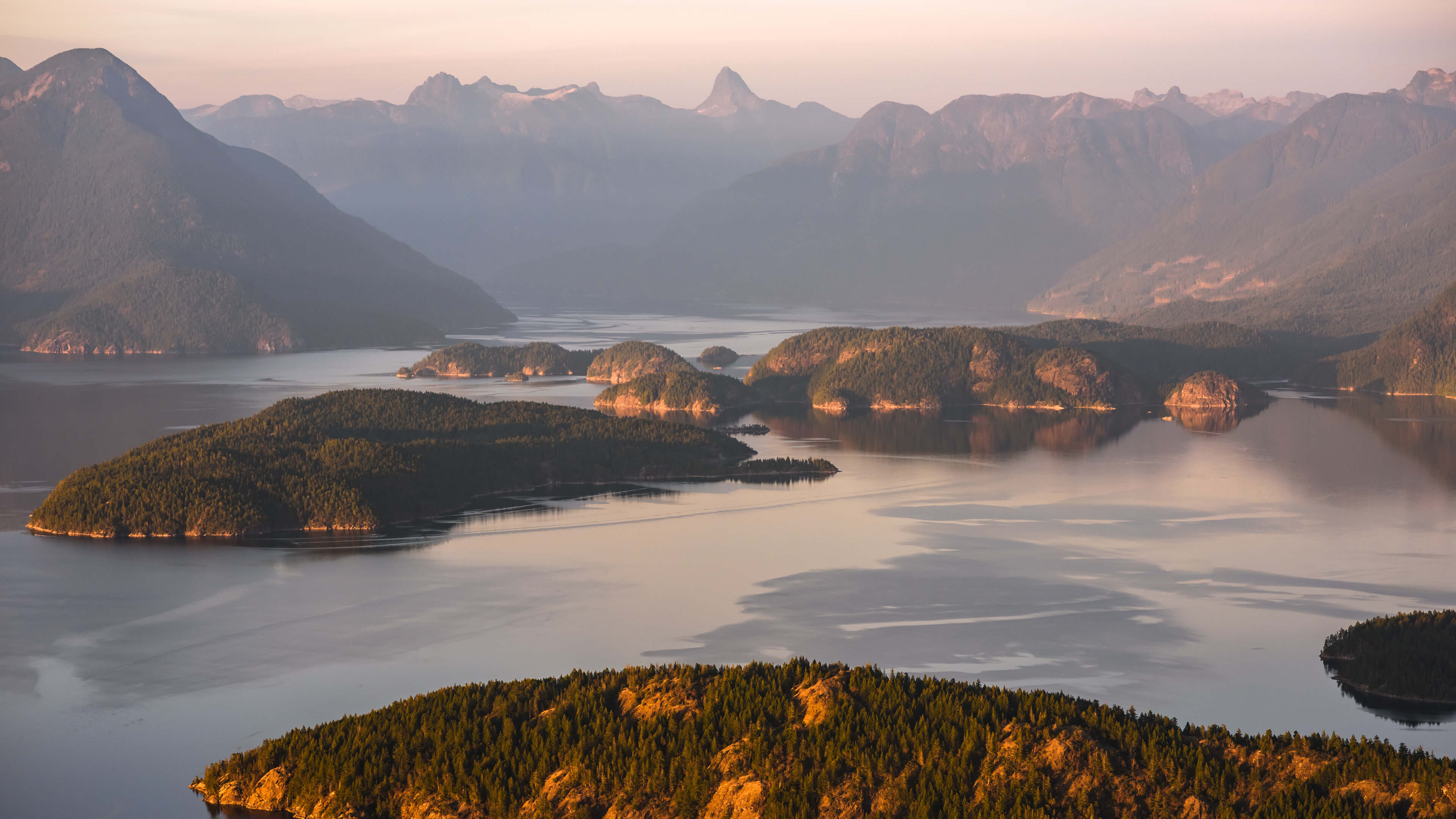 Aerial view of Desolation Sound, including Mt Denman and the Coast Range Mountains