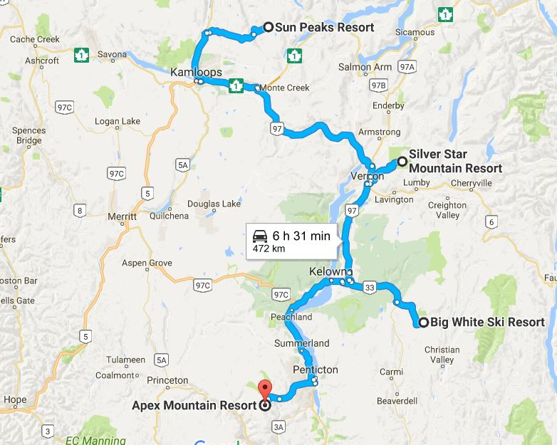 A map with a blue line indicating the route between Apex Mountain Resort and Sun Peaks Resort.