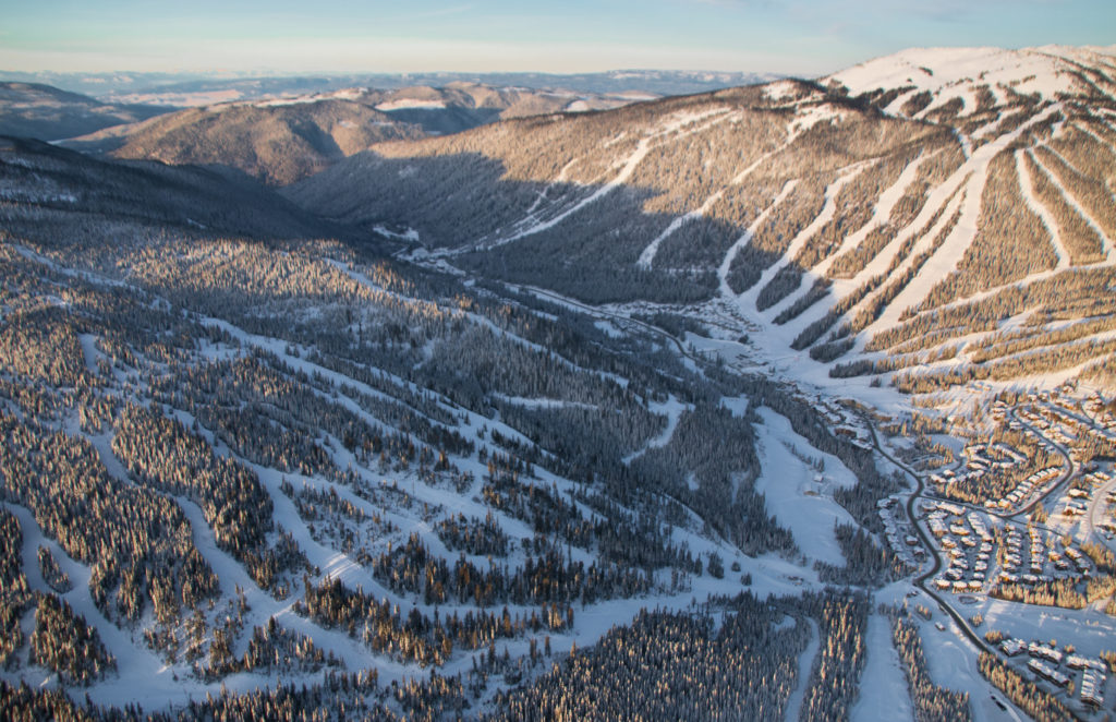 The terrain at Sun Peaks Resort is spread over three separate mountains.