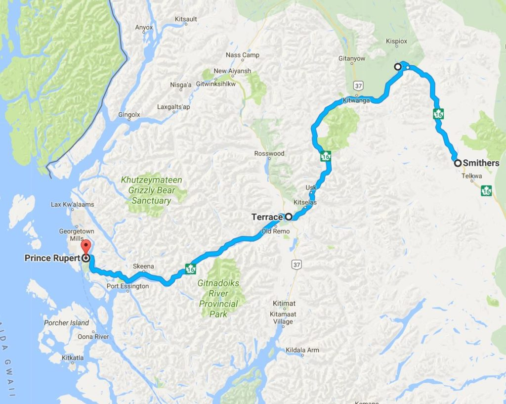 Map for road trip Smithers to Prince Rupert