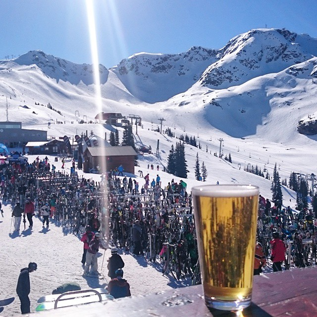 A beer with a view at Roundhouse Lodge in Whistler