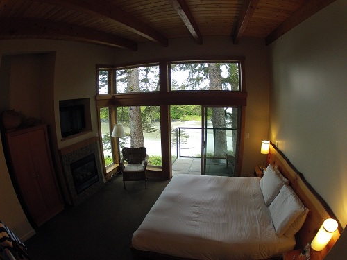 Interior of a room at the Pacific Sands Resort in Tofino, BC.