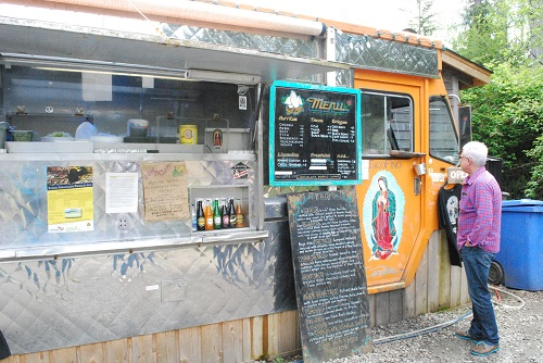 Taco truck parked in Tofino, BC.
