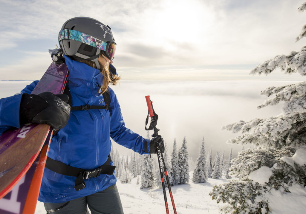 Arc'teryx athlete, Izzy Lynch, taking in the view.