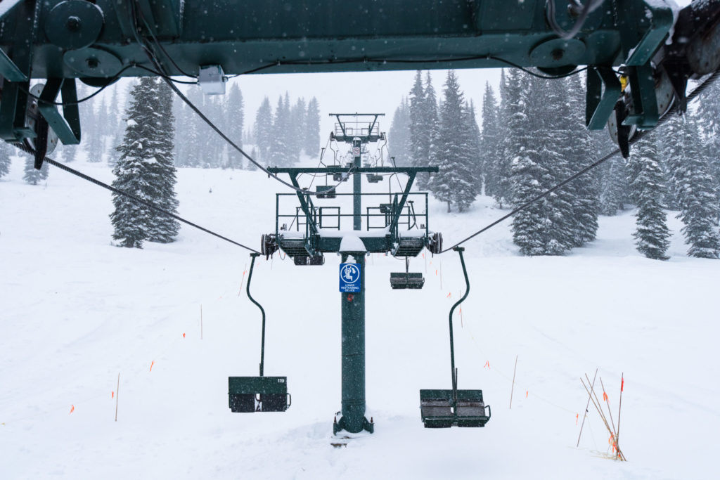 Classic two-man lifts at Whitewater Ski Resort.