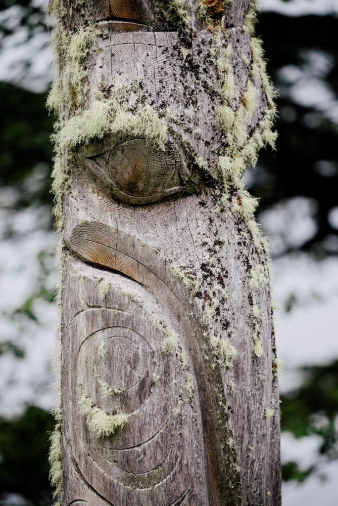 Totem pole on Haida Gwaii in Northern BC.