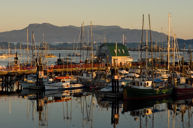 Cowichan Bay harbour at sunrise on Vancouver Island.