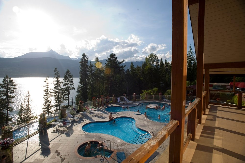 Aerial view of Arrow Lake and the pools at Halcyon Hot Springs Village and Spa near Nakusp.