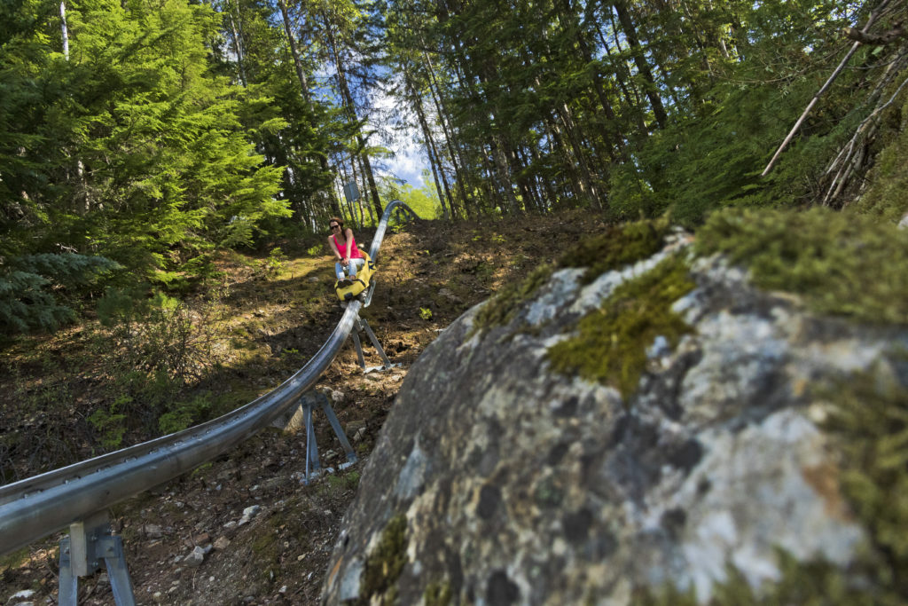 A woman rides a small roller coaster through the forest.