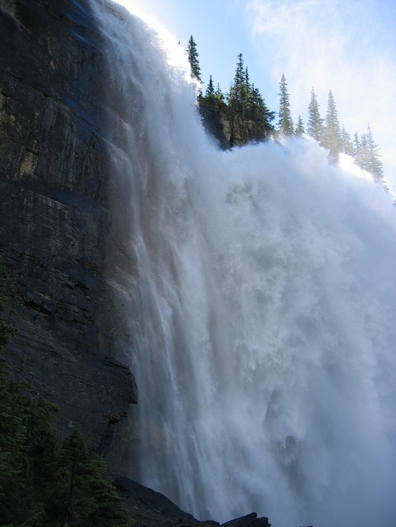 A raging waterfall at Mount Robson Provincial Park.