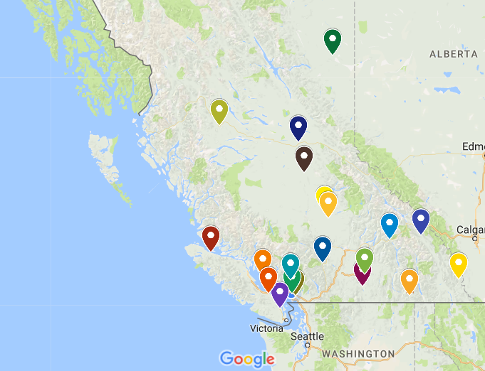 An illustrated map depicting all the giant-sized roadside attractions in BC.