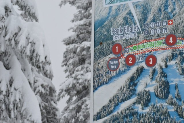 Snowshoeing trail map at Grouse Mountain. Photo: SYinc