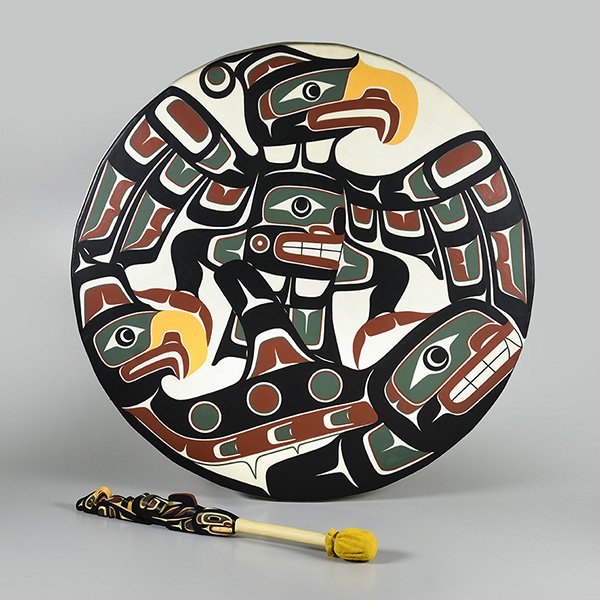 The Thunderbird, Eagle and Killerwhale Drum by Kwakwaka'wakw artist Kevin Cranmer.