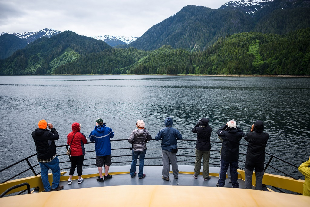 The view from the front deck on Prince Rupert Adventure Tours in the Khutzeymateen.