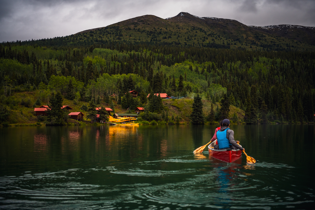 Paddling at Cold Fish Lake Camp in the Spatsizi Wilderness Plateau. Photo: Northern BC Tourism/Andrew Strain