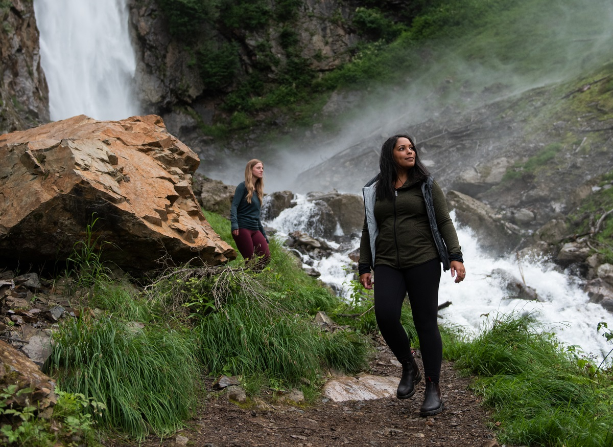 Two friends hiking at Twin Falls Recreational Site near Smithers | 6ix Sigma
