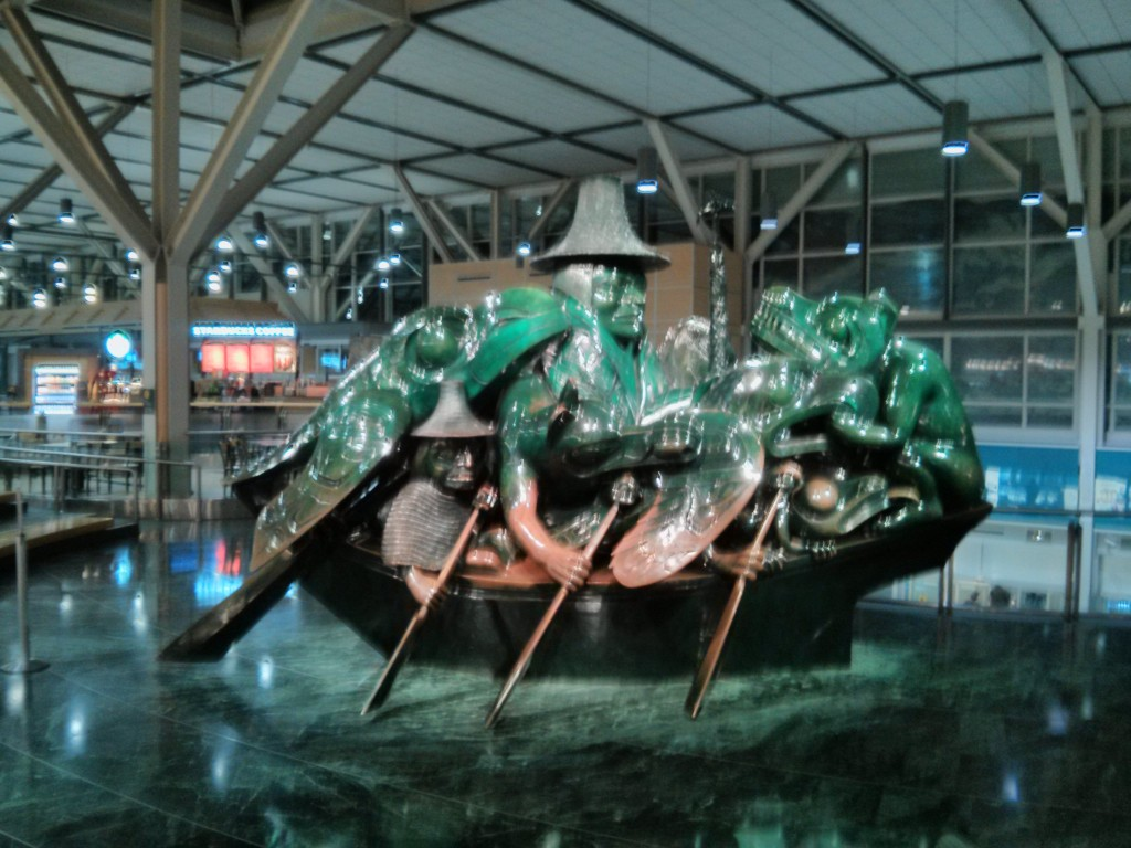 The famous Spirit of Haida Gwalii sculpture at the Vancouver airport.