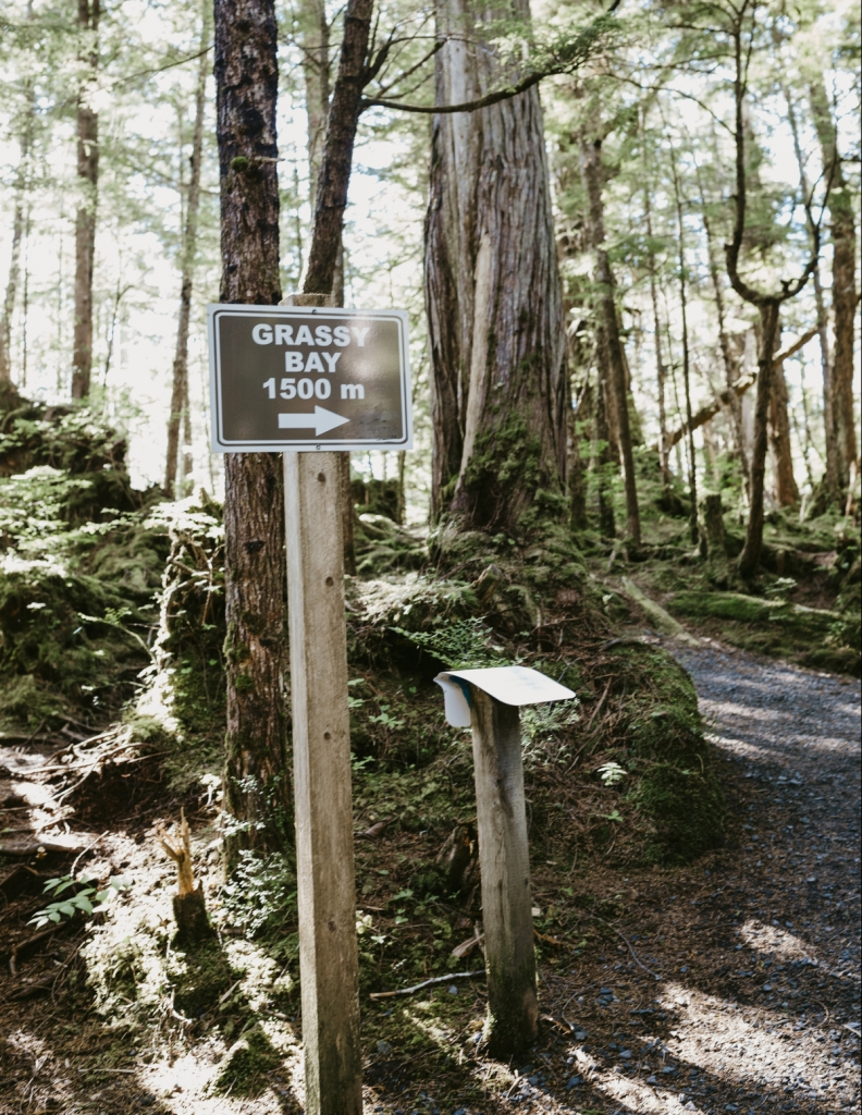 Sign at trail head to Grassy Bay in Prince Rupert | Tourism Prince Rupert