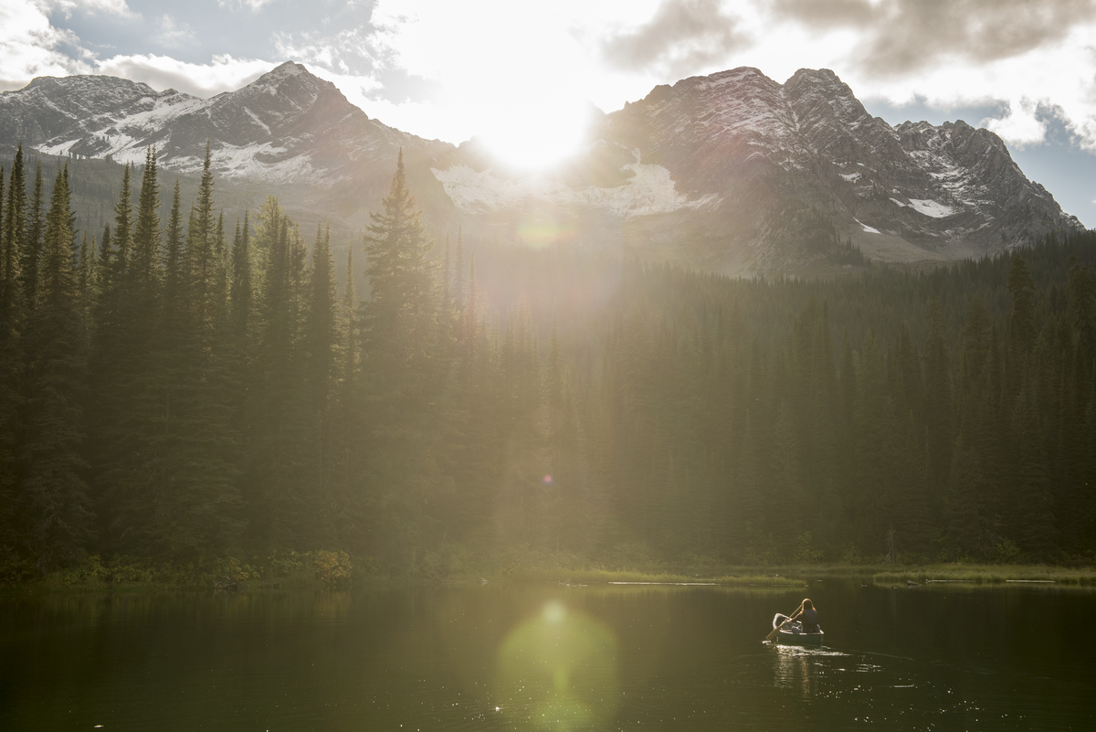 A paddler on Island Lake