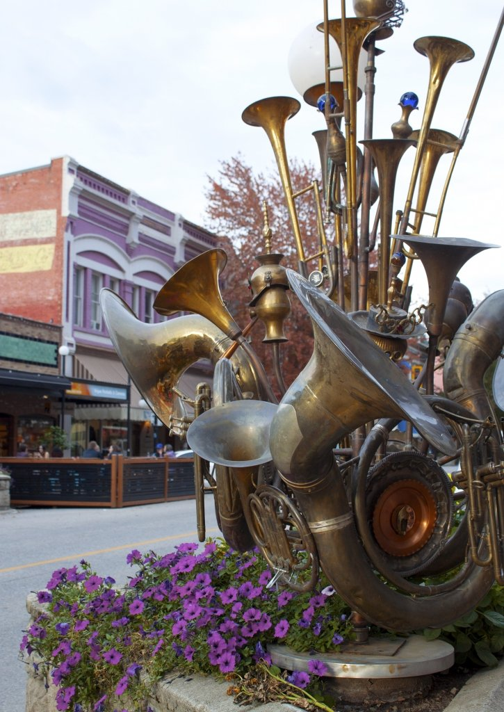 Brass instruments on streetscape in Nelson, BC.