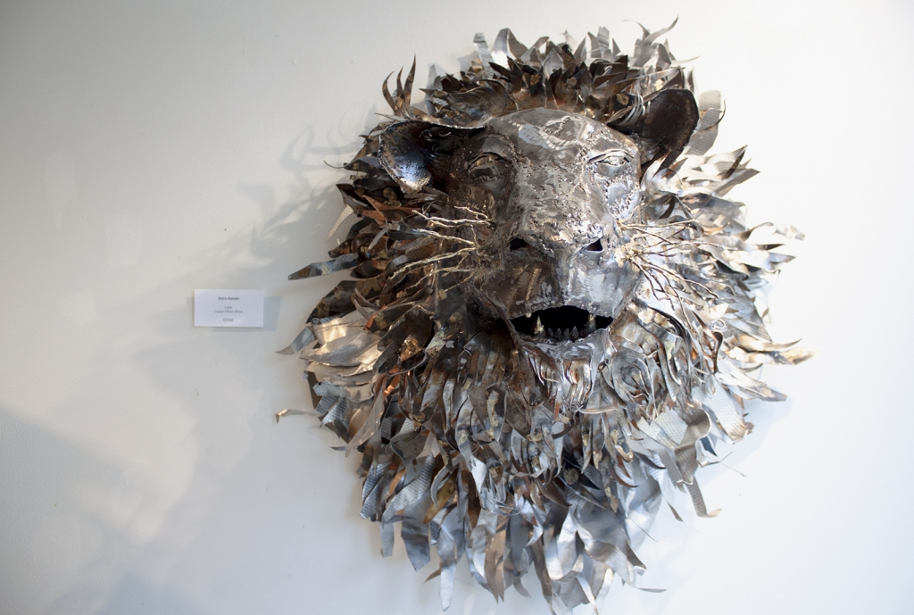 Lion's head sculpted from metal frpm Craft Connection in Nelson.