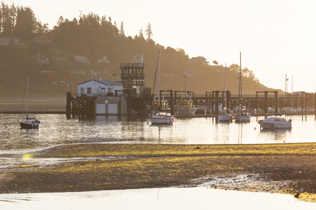 Sunrise over a marina from Goose Spit in Comox