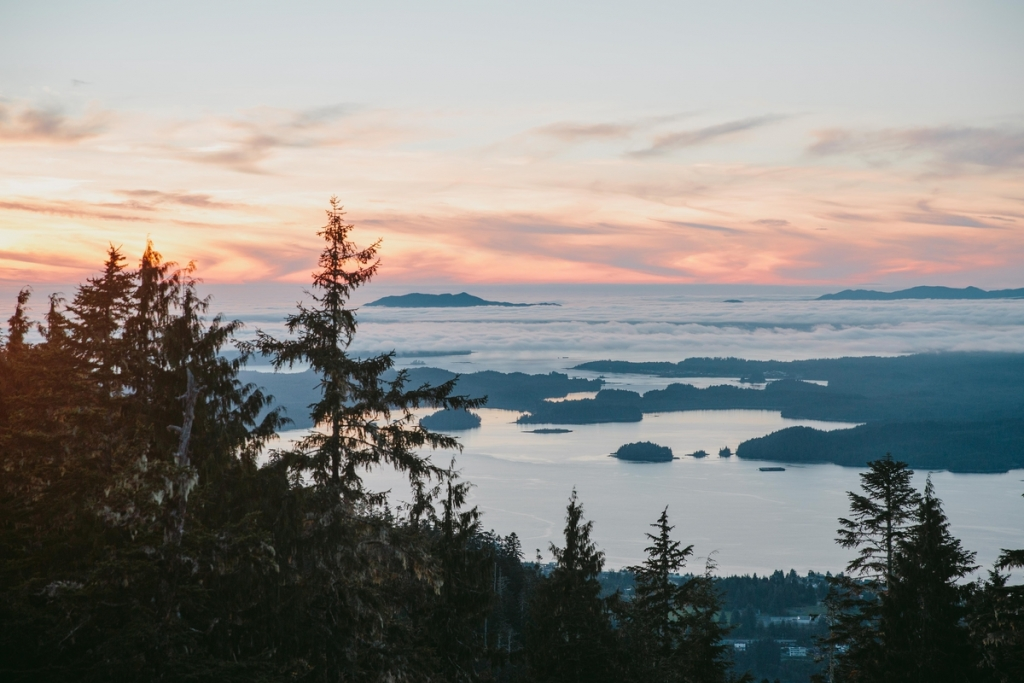 Sunset over Tall Trees Trail in Prince Rupert Credit Destination BC/Mike Seehagel