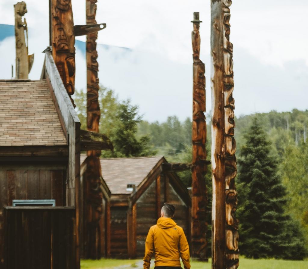 Walking through 'Ksan Historical Village with totem poles | Callum Snape