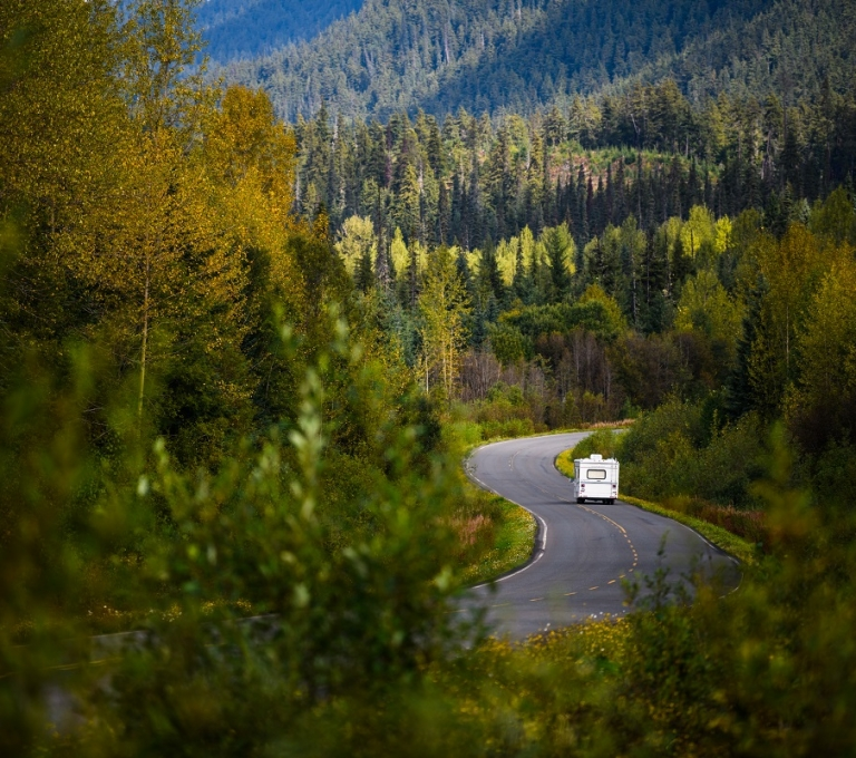 RV traveling the Stewart Cassiar Highway near Bell II | Northern BC Tourism/Andrew Strain