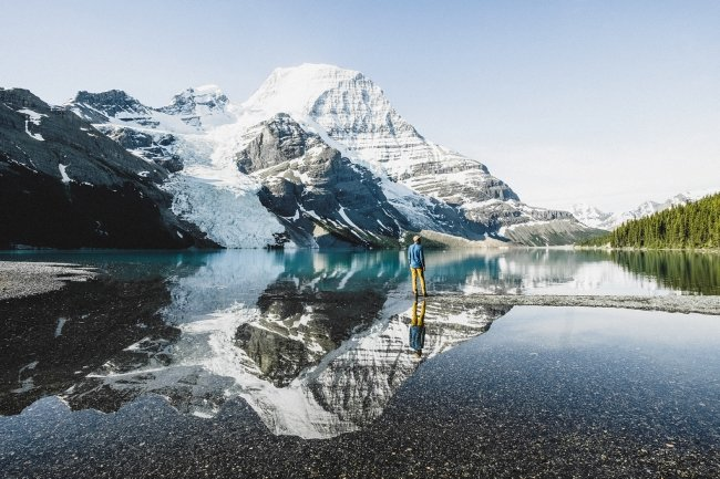 Who wouldn't want to run towards this view? Mount Robson and Berg Lake are the halfway rewards on the Mount Robson Marathon.