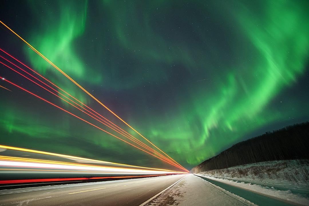 Northern lights along the Alaska Highway, near Fort Nelson.