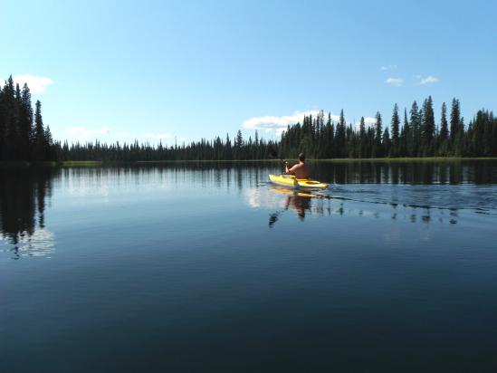 Kayaking on Amanita Lake.