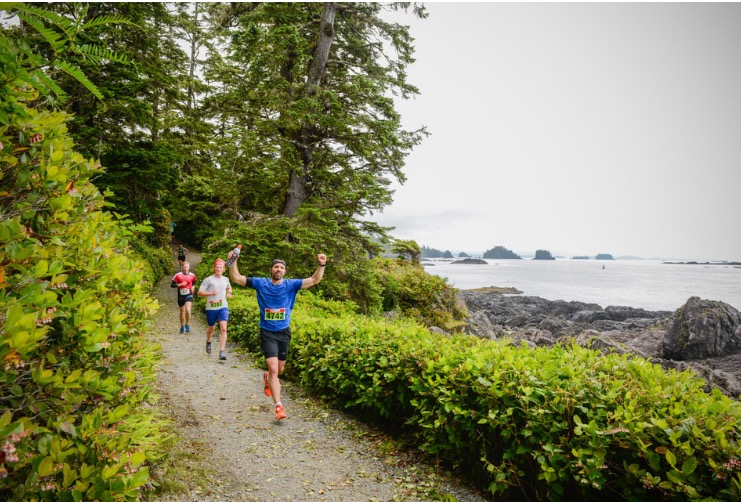 Running along the Wild Pacific Trail in Ucluelet.