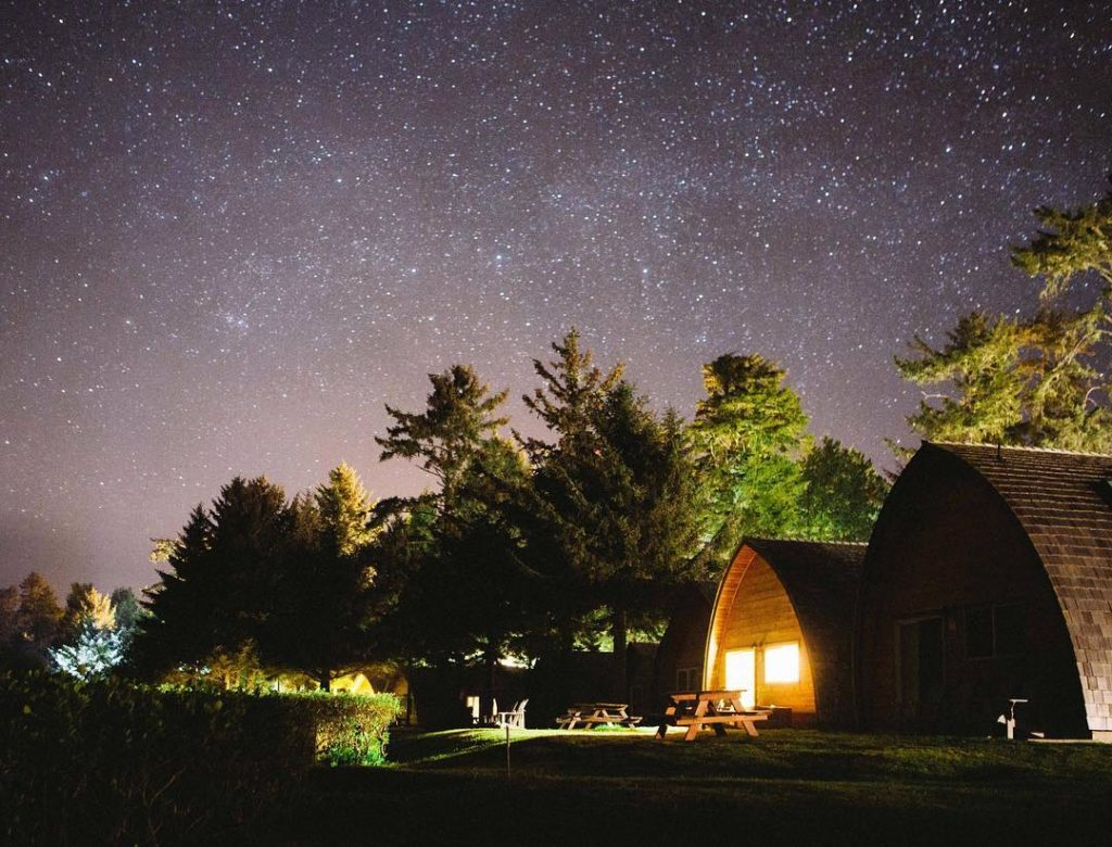 A brightly lit lodge sits under a star-filled sky.