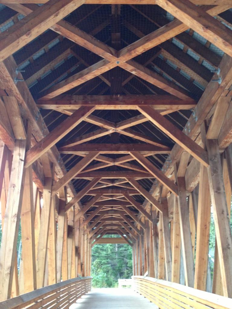 A wooden pedestrian bridge.