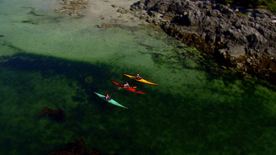 Aerial view of three kayakers paddling through the ocean.