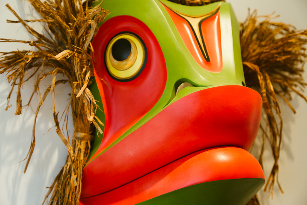 A colorful first nations mask.