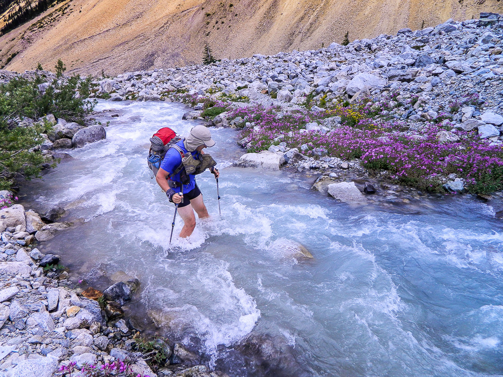 A hiker makes his way across a bright blue river, lined on both sides with blooming flowers.