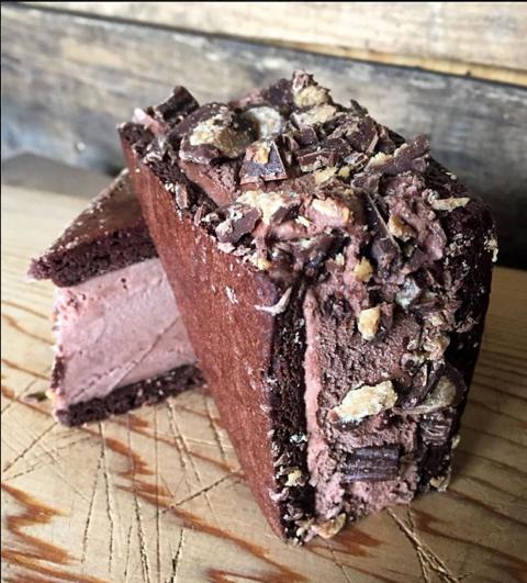 A decadent chocolate fudge brownie ice cream sandwich.