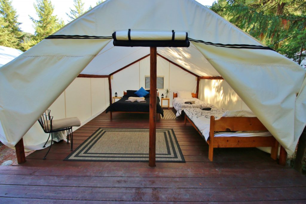 A luxury yurt that sleeps six.