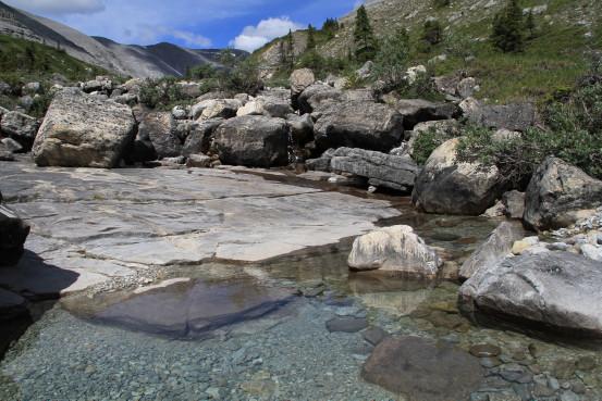 A rocky creek on a sunny day.