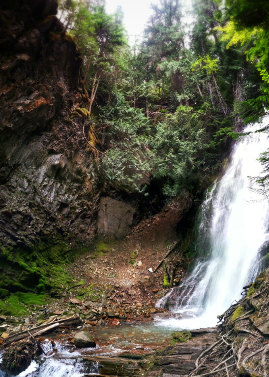 The rugged landscape of Fletcher Falls in Kootenay, British Columbia.