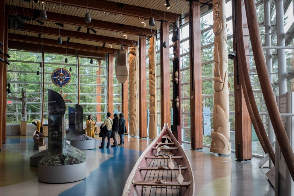 First Nations culture on display in a bright cultural centre.