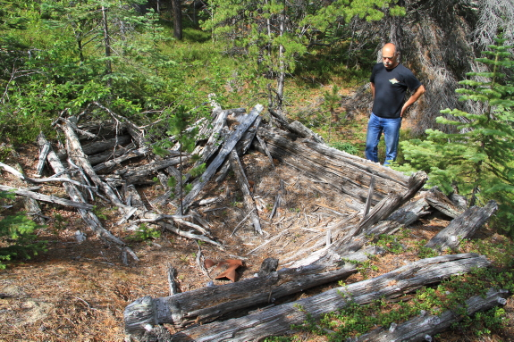 A man pauses in the forest to look at the ruins of a wooden cabin.